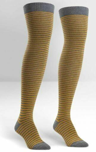 Mustard/Heather Striped Women's Over The Knee Socks