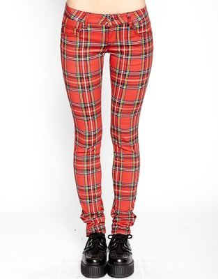 Red Plaid T Back Jean