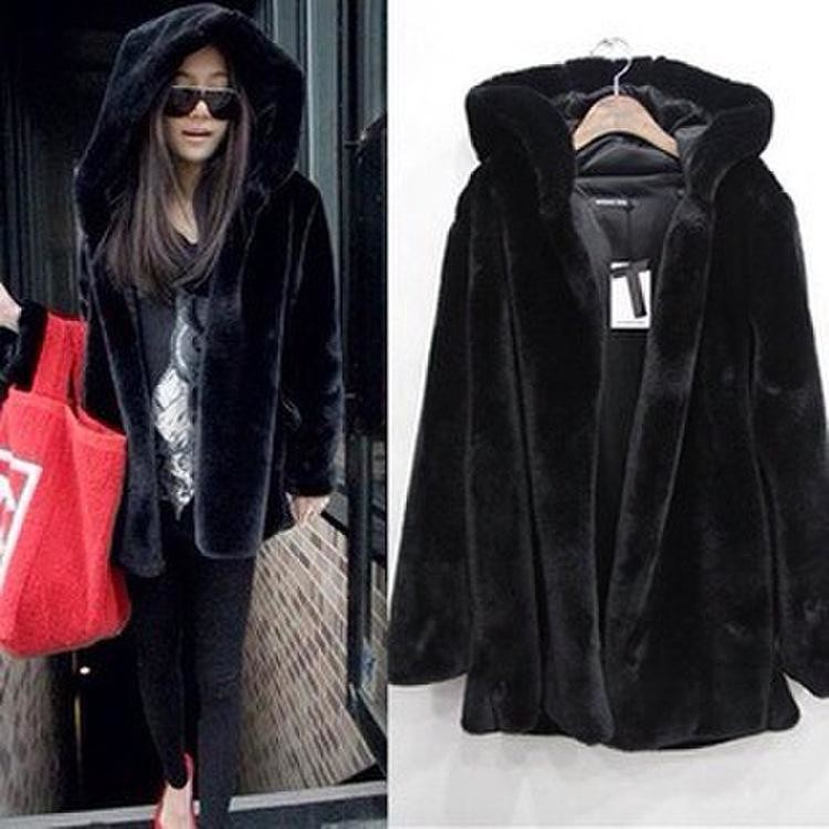 Plus Size Women Faux Fur Parka Jacket Winter Warm Hooded Coat Casual Overcoat
