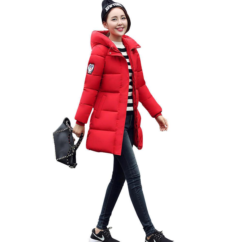 Winter Fashion Long Sleeve Hooded Jackets Slim Style Casual Parka Coat