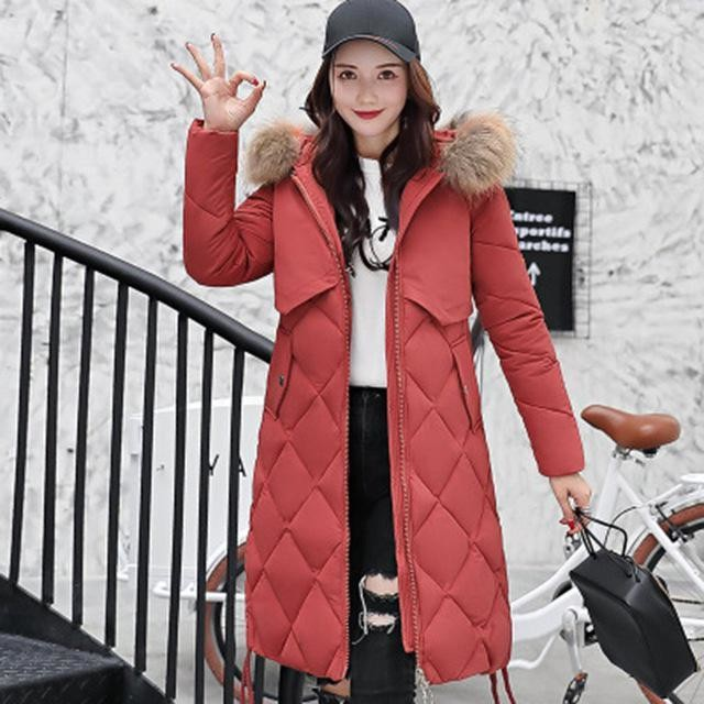 Women Down Sleeved Color Collar Korean Super Long Overcoats Ladies Slim Cap Parka Warm Cotton Coat