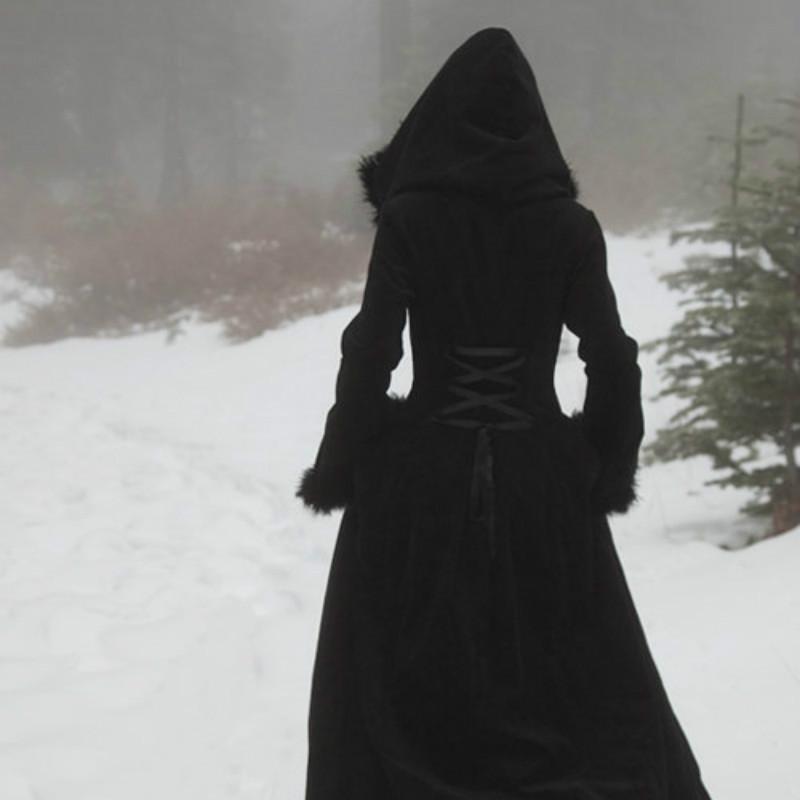 Coat women long sleeve hooded