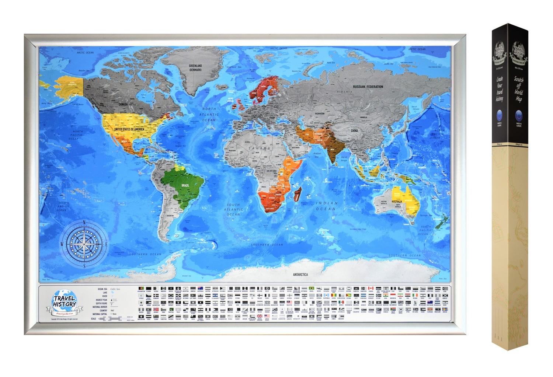 Weltkarte zum Rubbeln, Personalisierte Reisekarte mit Flaggen, Weltkarte zum Markieren von Reisen, Weltkarte mit Länderflaggen, Original Geschenk für die Liebsten, Größte Weltkarte 84x57cm