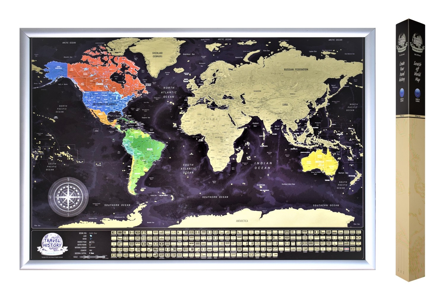 Scratch off World Map with Flags, Best Personalized Gift for Friend, High Quality Product, Made in EU