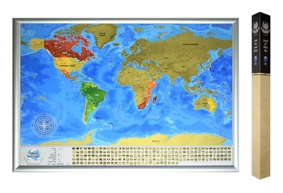 Personalized Scratch off World Travel Map, Best Personalized Gift for Friend, High Quality Product, Made in EU