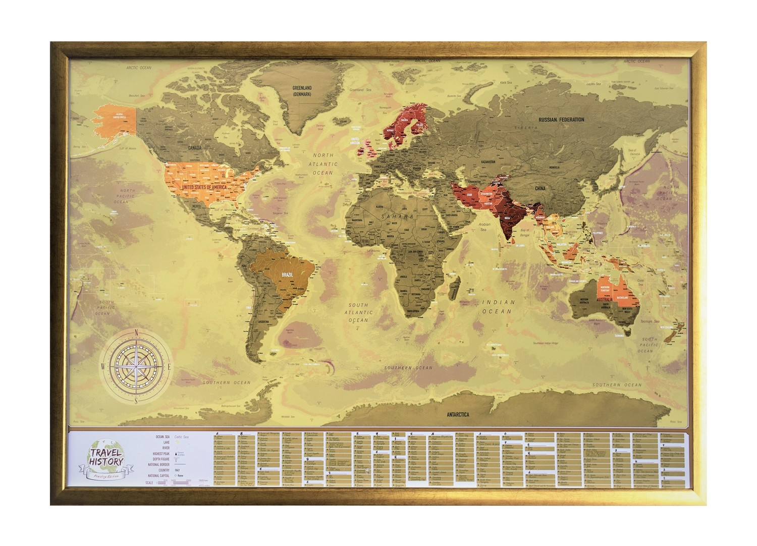 Framed Vintage Scratch off World Map with Flags, Best Personalized Gift for Friend, High Quality Product, Made in EU