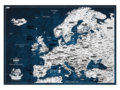 Push Pin Map Europe 2019, Personalized Push Pin Travel Map, Original Birthday Gift, Best Gift for Friend, Personalized Gift, High Quality Product, Style - INDIGO/CONCRETE