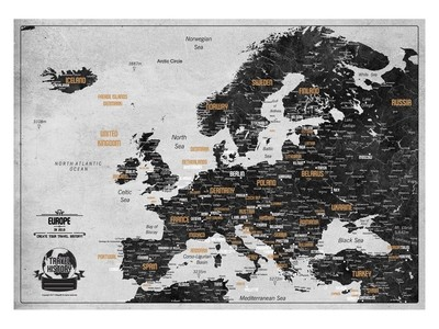 Push Pin Map Europe 2019, Personalized Push Pin Travel Map, Original Birthday Gift, Best Gift for Friend, Personalized Gift, High Quality Product, Style - WHITE/BLACK