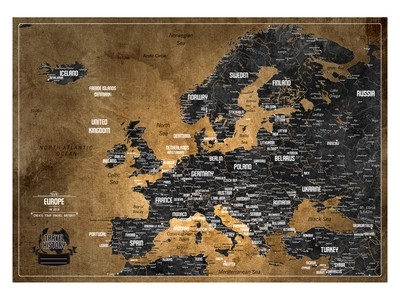 Push Pin Map Europe 2019, Personalized Push Pin Travel Map, Original Birthday Gift, Best Gift for Friend, Personalized Gift, High Quality Product, Style - BROWN/BLACK