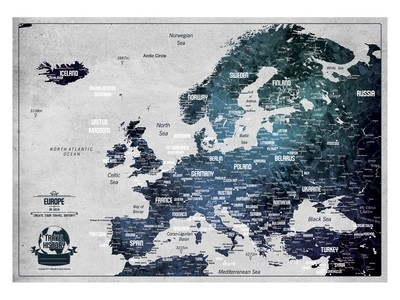 Push Pin Map Europe 2019, Personalized Push Pin Travel Map, Original Birthday Gift, Best Gift for Friend, Personalized Gift, High Quality Product, Style - WHITE/BLUE ICE