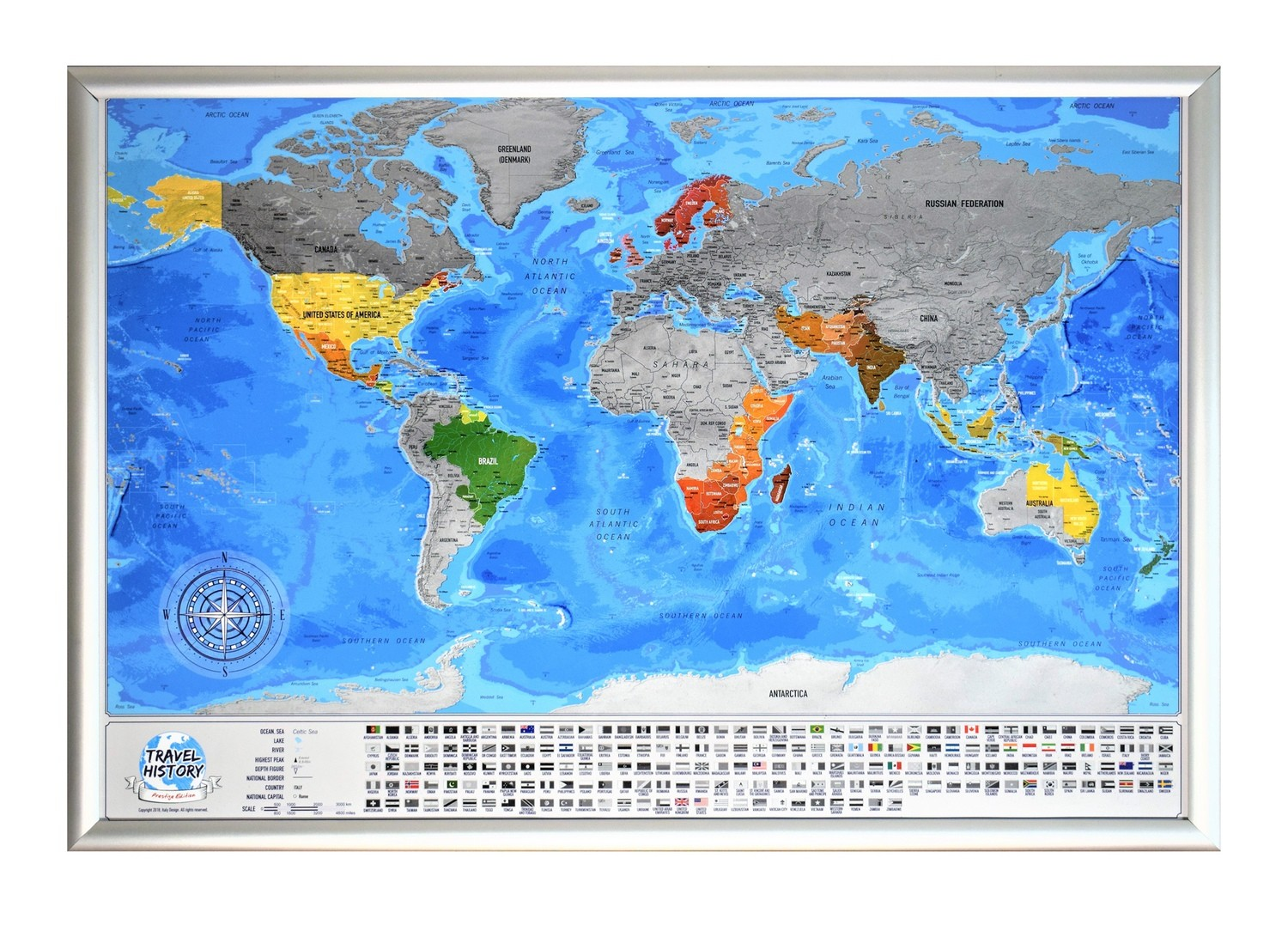 Framed Scratch off World Map with Flags, Best Personalized Gift for Friend, High Quality Product, Made in EU