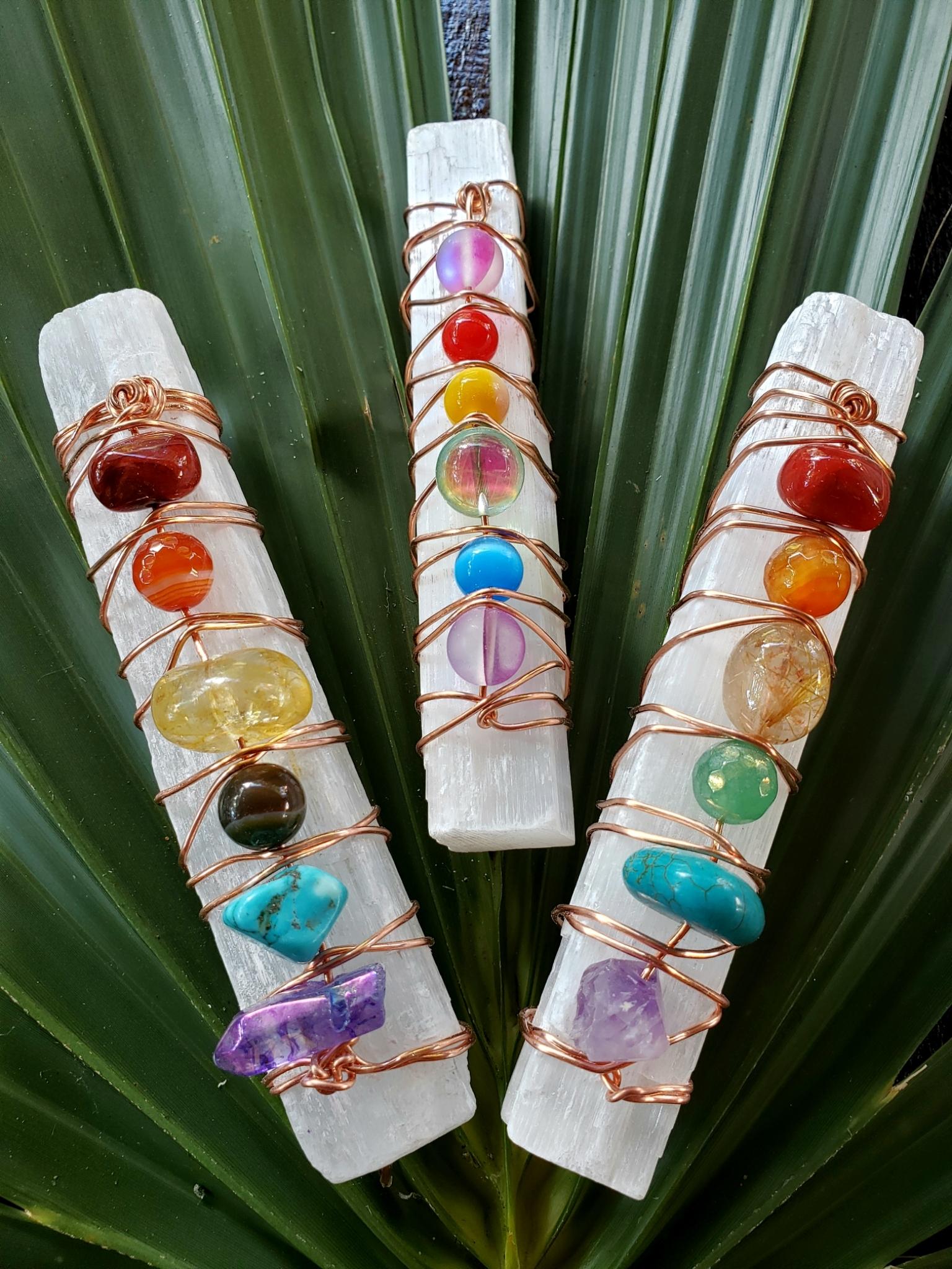Selenite Chakra Magic Wands 00144