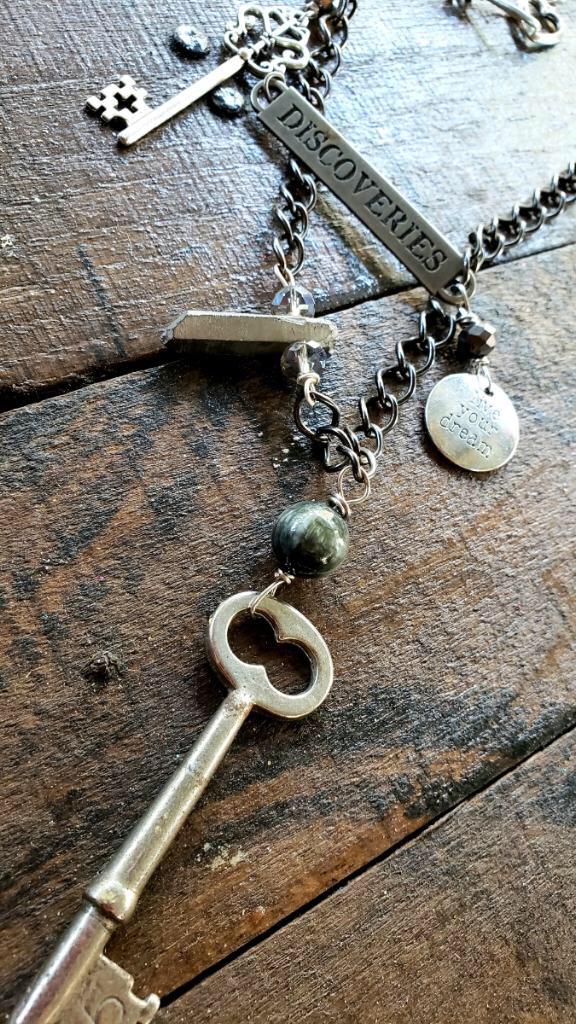 Discover Vintage Key Silver Aura Quartz Adventurer Necklace 00276