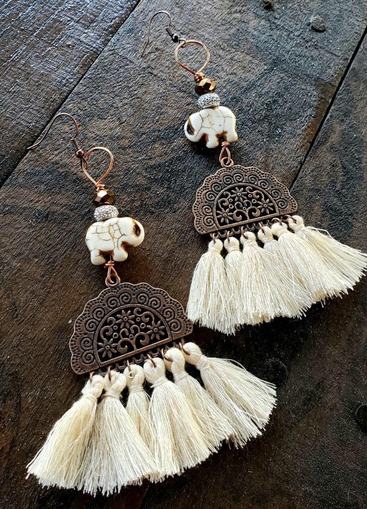 White Elephant Copper Tassel Earrings 00280