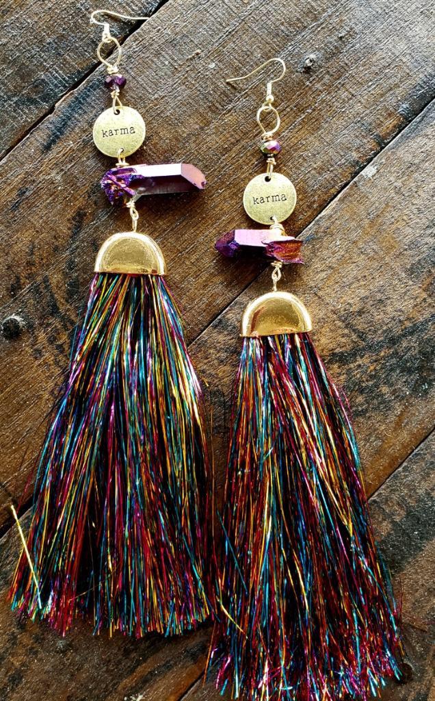Fun Funky Rainbow Tassel Karma Earrings 00288