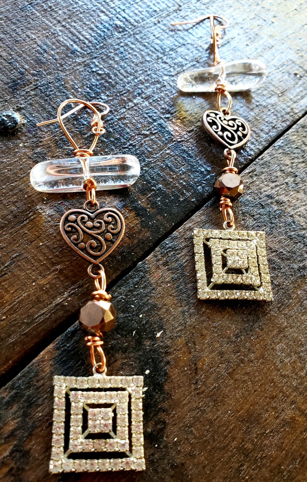 Crystal Quartz Copper Heart Rhinestone Earrings 00324