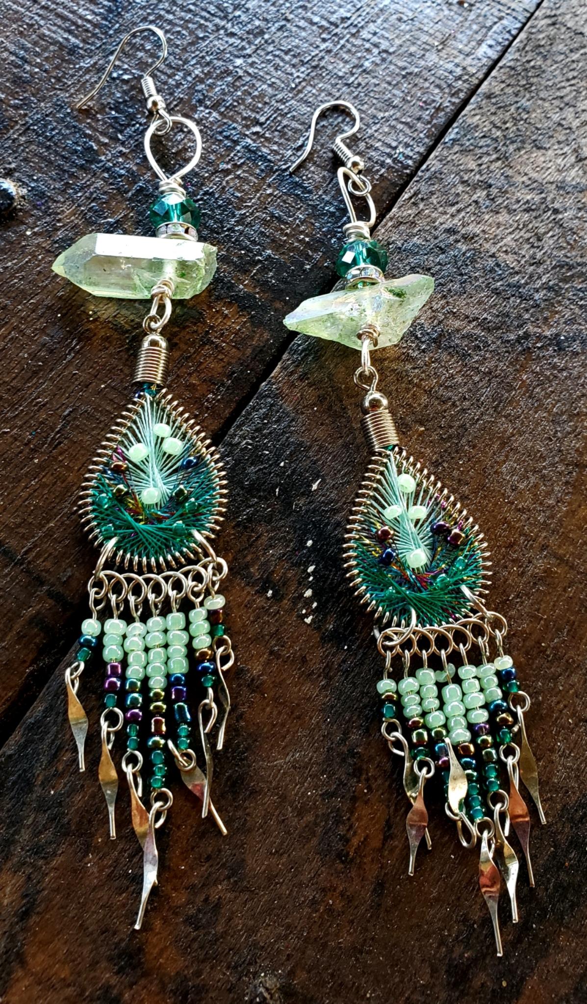 Tear Drop Green Apple Aura Quartz Earrings 00327
