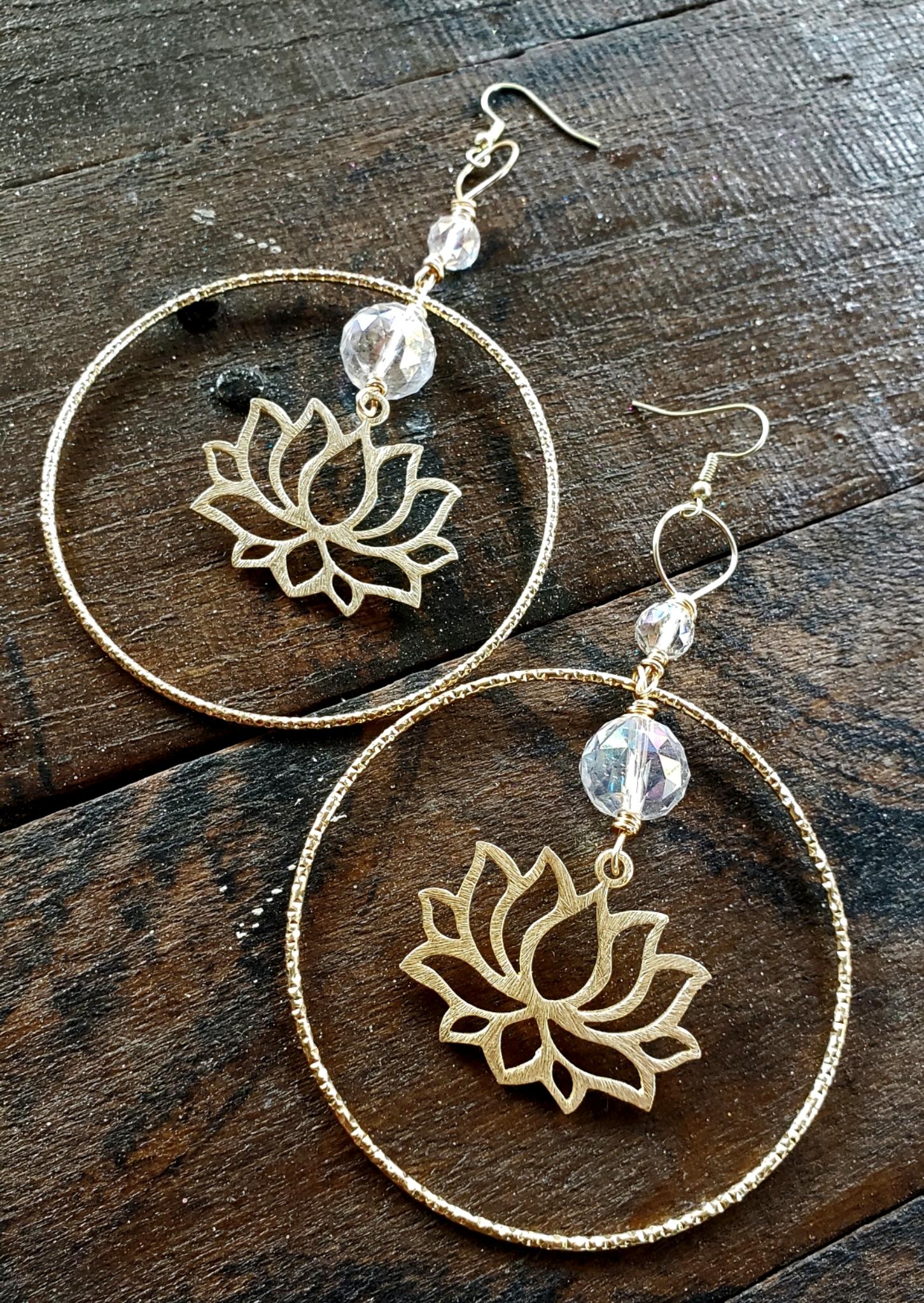 Crystal Lotus Flower Earrings 00331