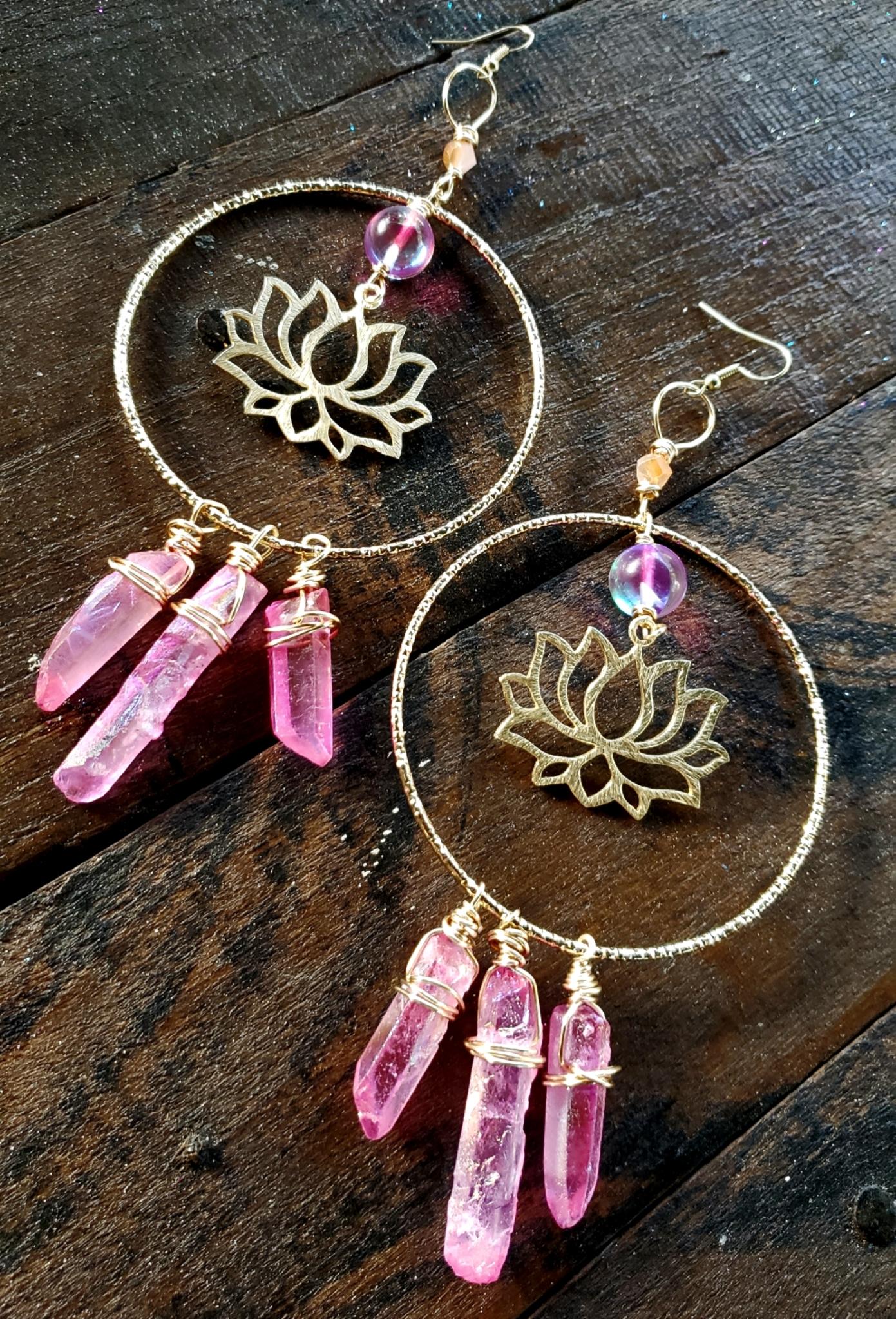 Pink Aura Quartz Lotus Flower Earrings 00330