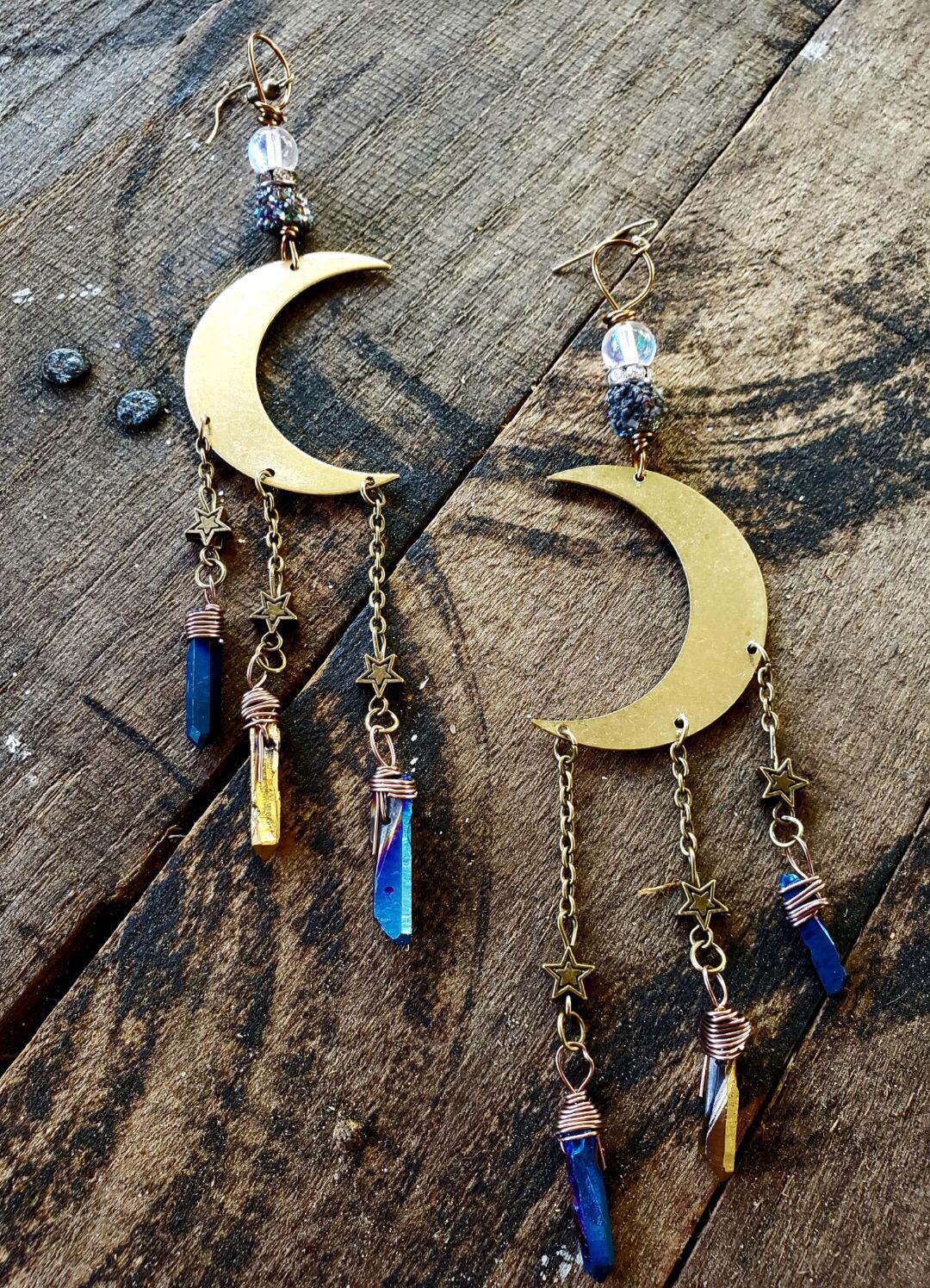 Crescent Moon Aura Quartz Earrings 00334