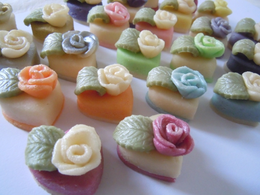 Hearts and Roses make elegant petit fours.