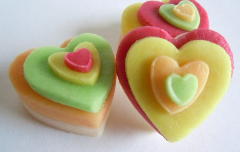 Plain almond hearts in jolly bright colours.
