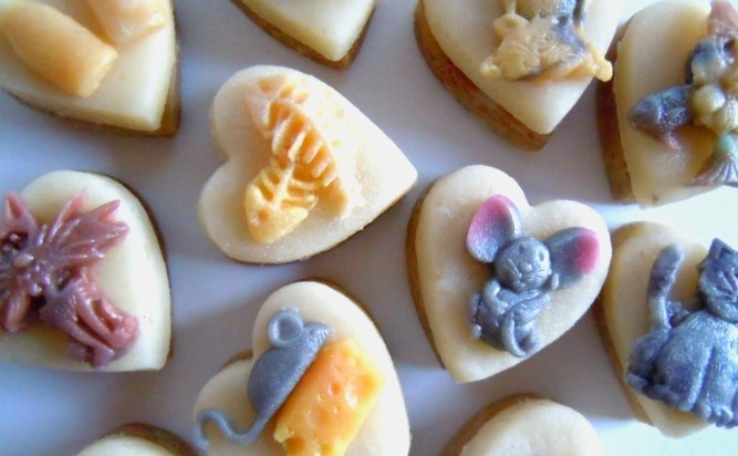 Tiny marzipan mice, cats and their favourite things.