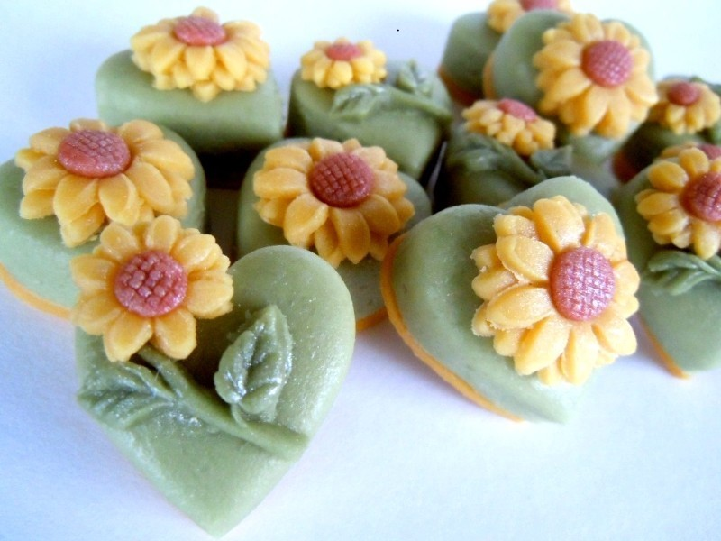 Sunshine yellow marzipan sunflowers.