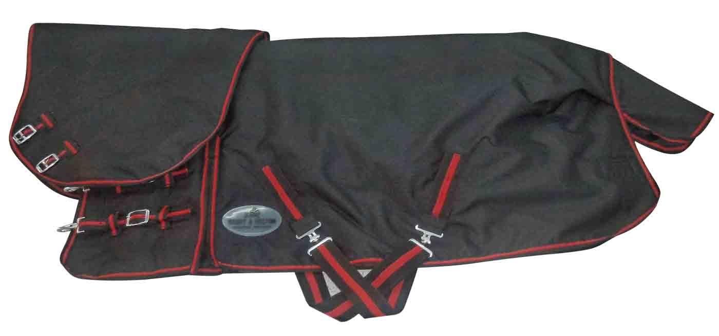 Outdoordecke schwarz/rot mit Hals