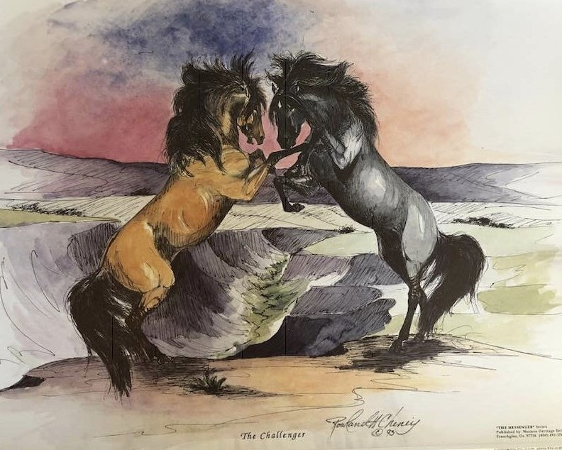 Mesteño (the famous original band stallion) Fighting the Grulla Stud.  Image created by Rowland Cheney for the Breyer company model 00000