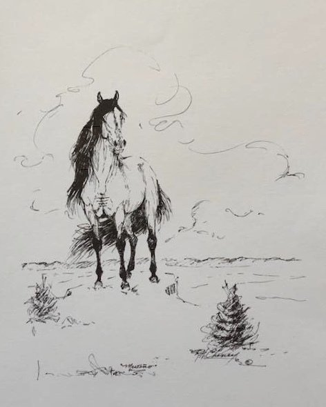 Mesteño (the famous wild band stallion) Signed sketch created by Rowland Cheney Title: The Legacy 00002
