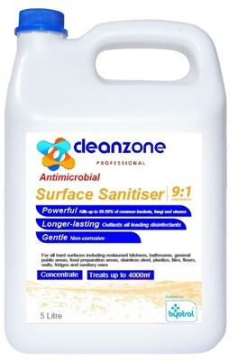 CleanZone Professional Surface Sanitiser 9:1 Concentrate - 5L