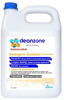 CleanZone Professional Antimicrobial Detergent Sanitiser Concentrate - 5L