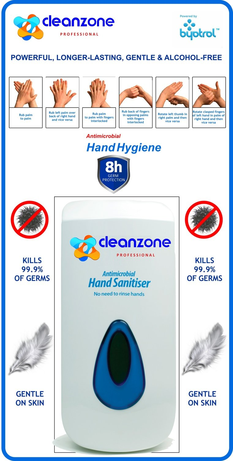 CleanZone Professional Antimicrobial Hand Foam Sanitiser Dispenser (with free backing board)