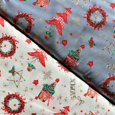 Vánoční bavlna se stromečky, věnci a zlatými detaily na  šedém podkladu