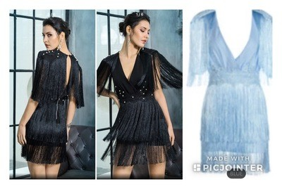 Fringe dress. (Blue)