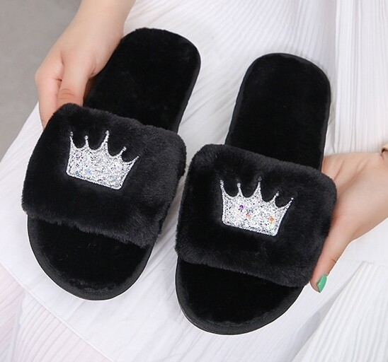 Black Crown Slippers