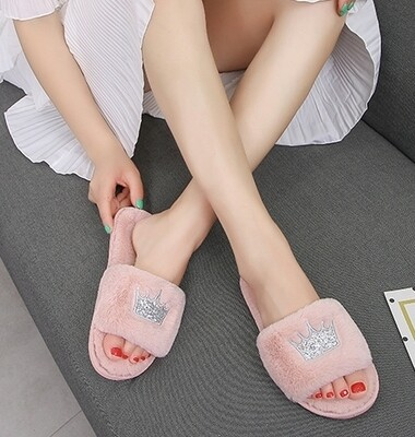 Pink Crown Slippers