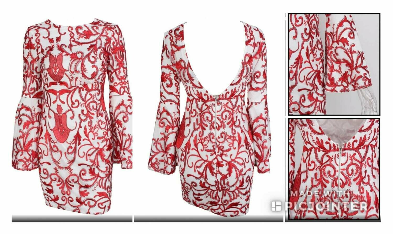 Red Bell Sleeved Dress