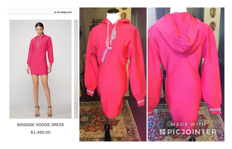 Pink Bandage Hoodie Dress