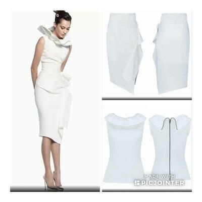 White Two Piece Skirt Set