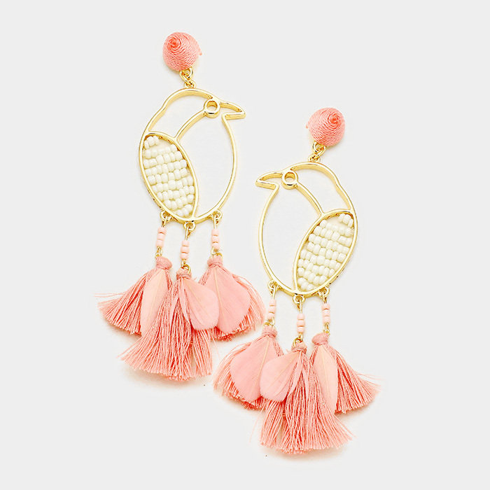 Peach Fringe Earrings