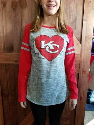 Pennant Raglan Space Dye Jersey - KC Chiefs Heart Design