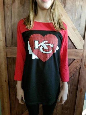 District Threads Rally 3/4 Sleeve w/KC Chiefs Heart Design