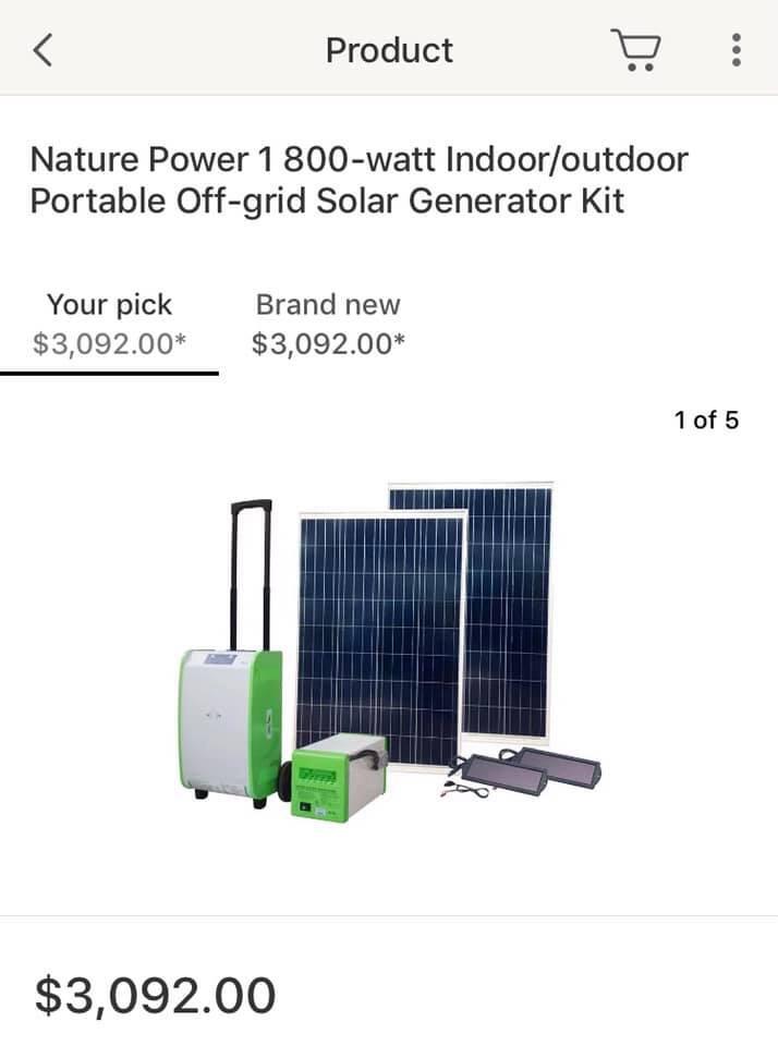 New Nature Power 1800 watt indoor/outdoor portable solar generator