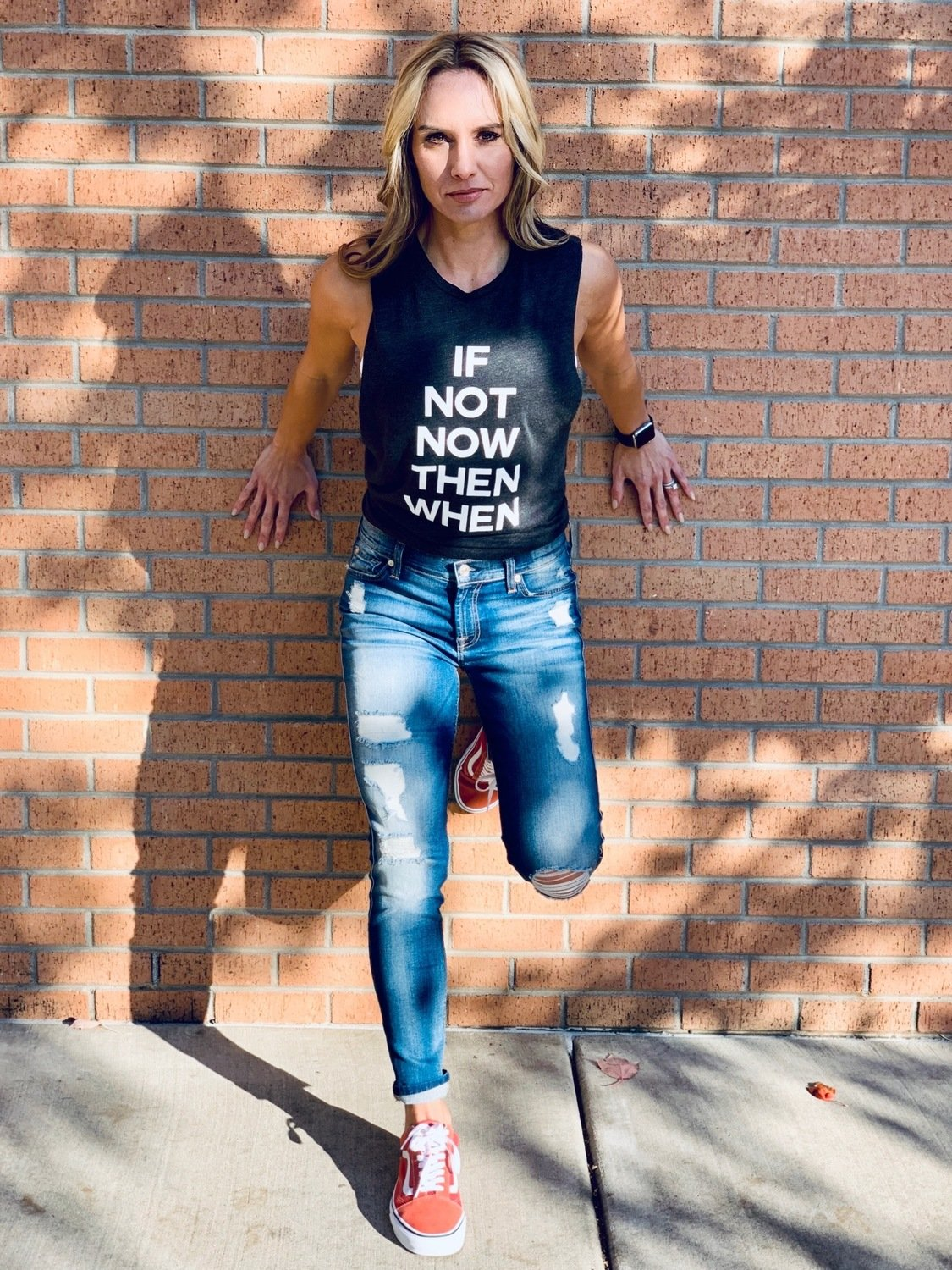 IF NOT NOW THEN WHEN Crewneck Boyfriend Muscle Lounge Tank