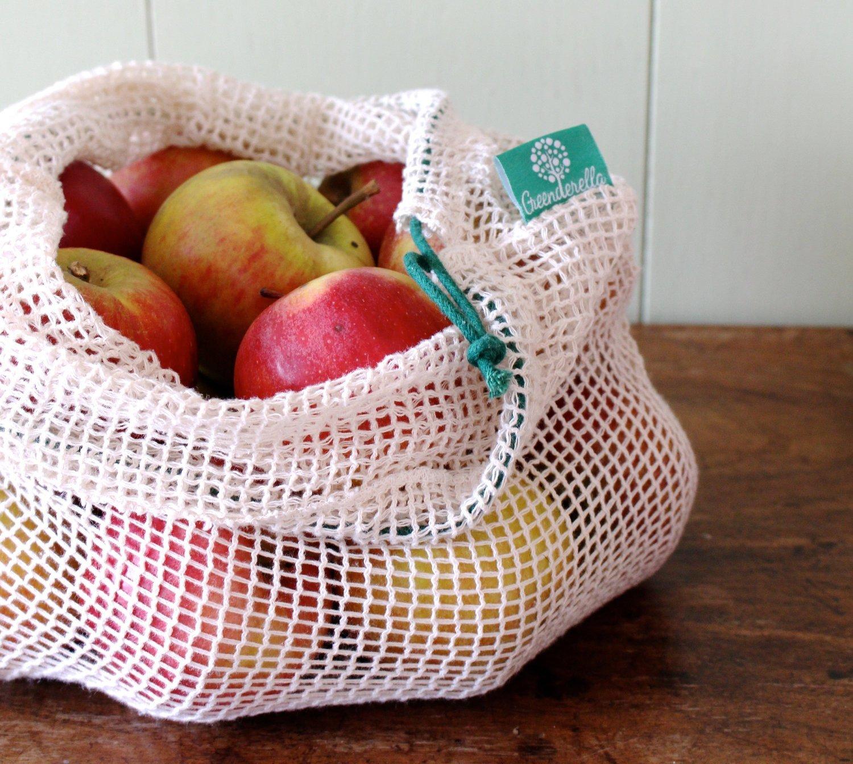 2er Set (Größe L), Einkaufsnetze aus Bio-Baumwolle