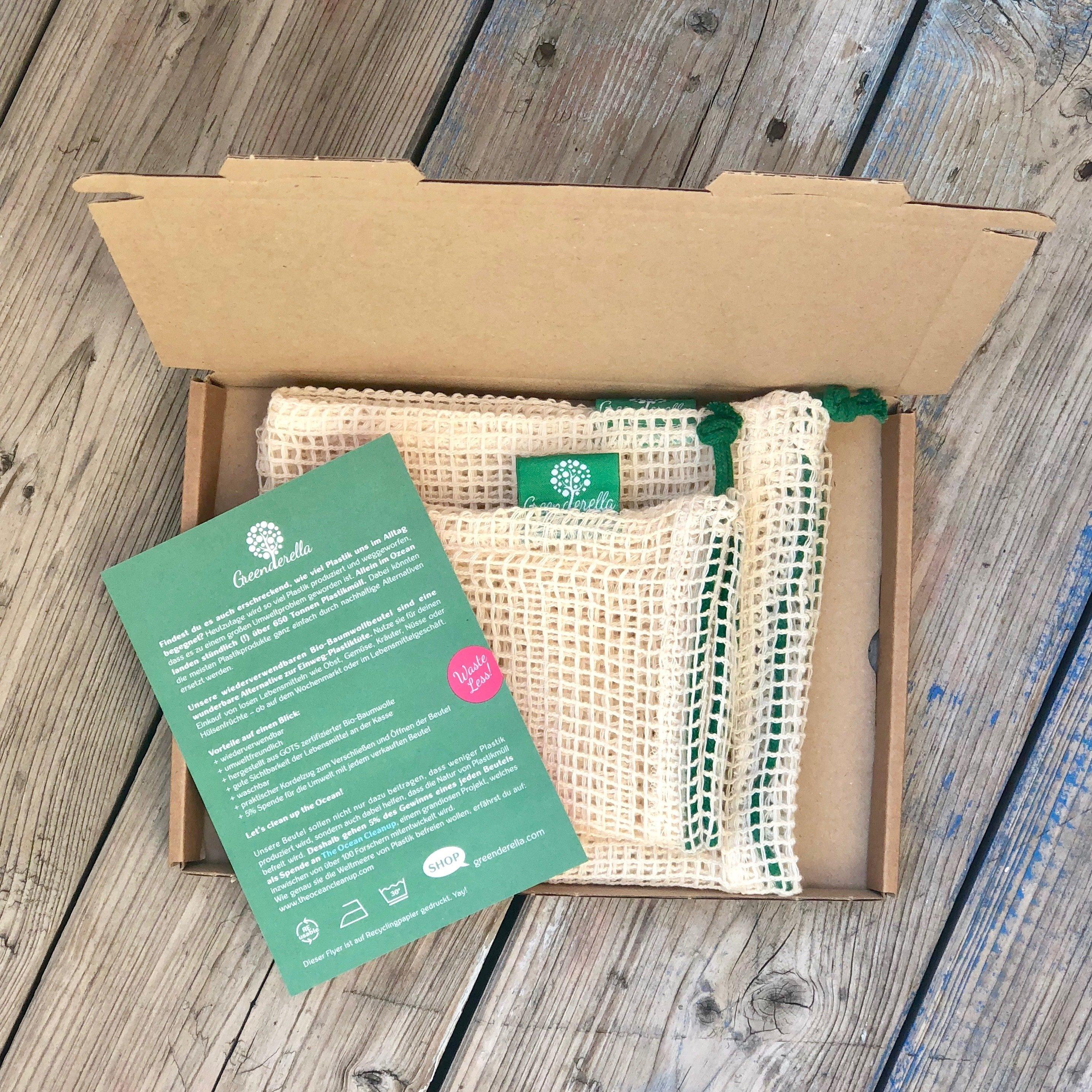 2er Set (L+M) grün, Einkaufsnetze aus Bio-Baumwolle