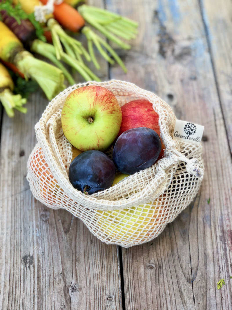 2er Set (L+M) natur, Einkaufsnetze aus Bio-Baumwolle