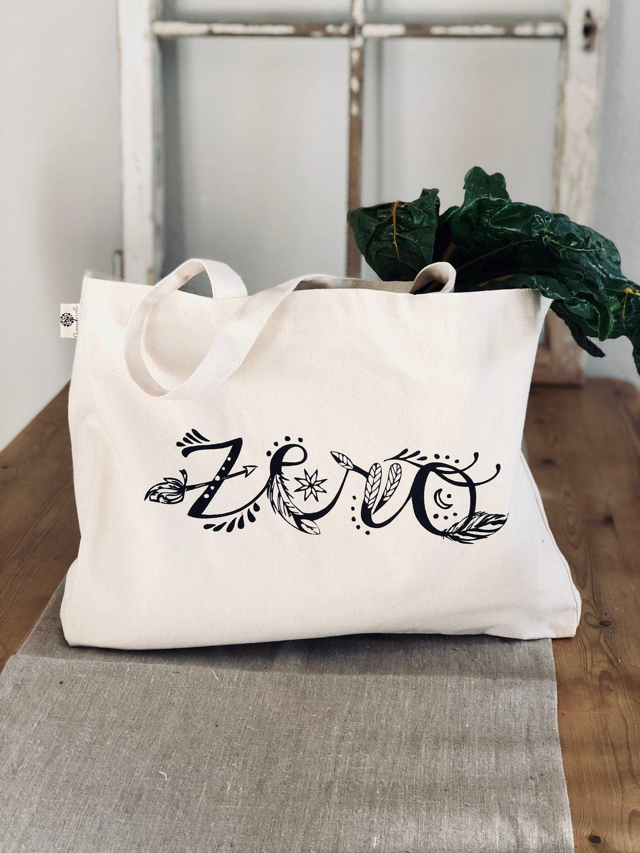 """Großer Shopper / Einkaufsbeutel aus Bio Baumwolle """"Zero"""" boho"""